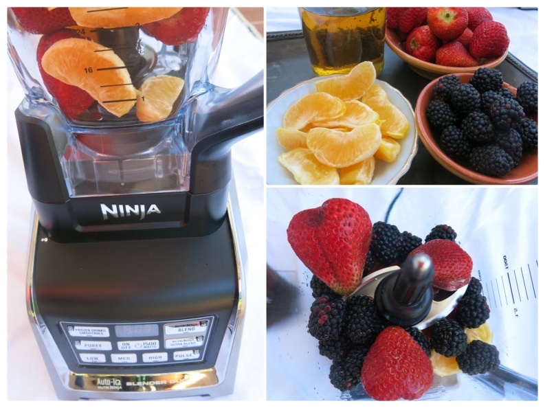 NINJA Blender Orange Strawberry Mint Tea Smoothie