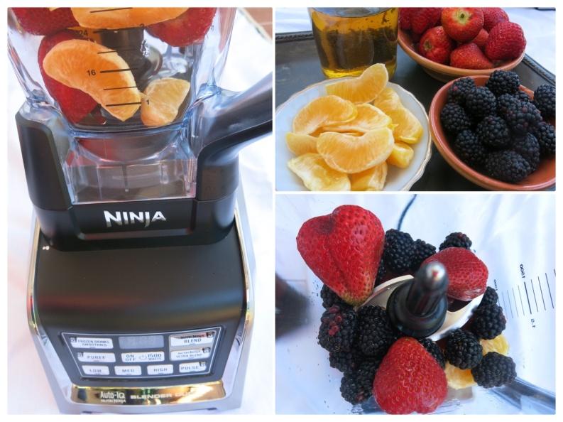 NINJA Blender Orange Strawberry Mint Tea Smoothie