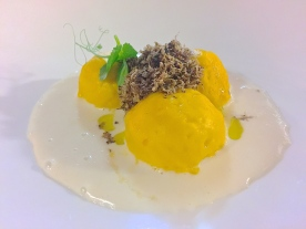 "Curdled egg filled with sweet herbs and tartare of ""Fassone"" beef"