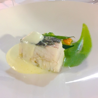 Turbot fried in sugar with steamed vegetables, mashed potato and leek sauce