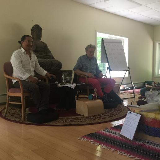 Dr. Nida and Dr. Robert Thurman lead a class on meditation and yoga